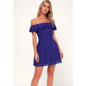 Lulu's Win Your Heart Blue Off the Shoulder Dress